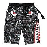Manbozix Herren Shorts Freizeit Evil Shark Strandshorts Shorts Jungen Sport Shorts Joggen Shorts Fitness Kurze Hose Bermuda Shorts, 2XL