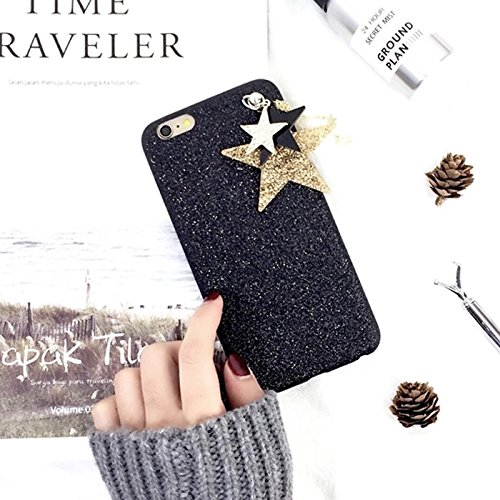 Pour iPhone 6 / 6s, Glitter Powder Soft TPU Housse de protection avec Star Pandent JING ( Color : Red ) Black