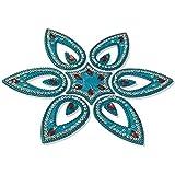 Readymade Designer Elegantly Designed Aqua Blue Rangoli - With Tear Drop Shape Design Decorated With Multicolour Stones And Beads On Blue Plastic Base - 7 Pieces Set