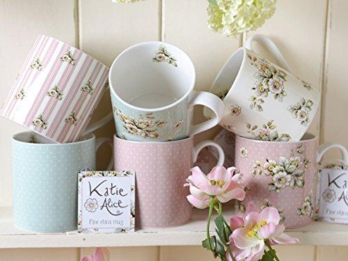 Katie Alice Cottage Flower Spot Colección taza de porcelana china, diseño de rayas y flores, multicolor, juego de 6
