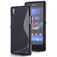 Gr8value Clear Case Thin Transparent Soft Gel S TPU Silicone Case Cover Sony Xperia Z1 - L39H (Plain black S gel)