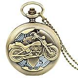 JewelryWe Vintage Bronze Motorrad Taschenuhr Herren Analog Quarz Uhr mit Halskette Kette Umhängeuhr...
