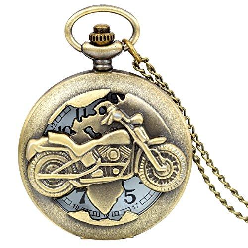 JewelryWe Vintage Bronze Motorrad Taschenuhr Herren Analog Quarz Uhr mit Halskette Kette Umhängeuhr Pocket Watch Geschenk