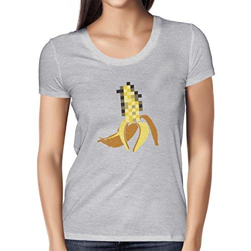 NERDO - Pixeled Banana - Damen T-Shirt Grau Meliert