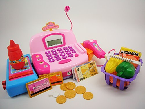 Fatherland Shop Pretend Play Cash Register with Accessories, Sound, Light, Scanner, and Microphone for Kids (Color M