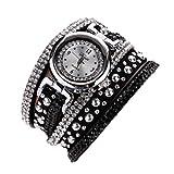 Ouneed Uhren, Damen Vintage Mode Kristall Band Armband Dial Quarz Kleid Handgelenk analoge Uhr (Schwarz)