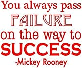 Adesivo Murale 3D Calcio Mickey Rooney Quote You Always Pass Failure On The Way To Success For Nursery Kids Room