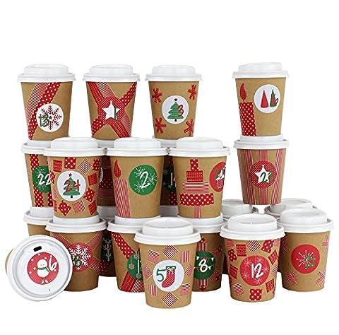 DIY Adventskalender Kaffee-Becher - zum selber Basteln und Befüllen - mit rotem Washi Tape - 24 Coffee to Go Cups - Design Set 15 - von Papierdrachen