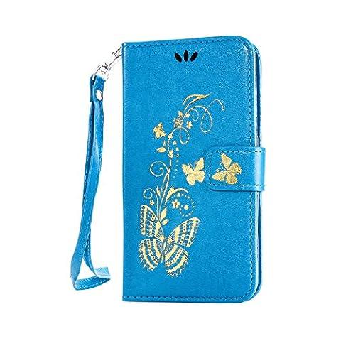 Anlike Sony Xperia M4 Aqua (5 Zoll) Hülle, Schutzhülle für Sony Xperia M4 Aqua (5 Zoll) Wallet Tasche [Butterfly geprägte Serie Bronzing] Handyhülle - Blau