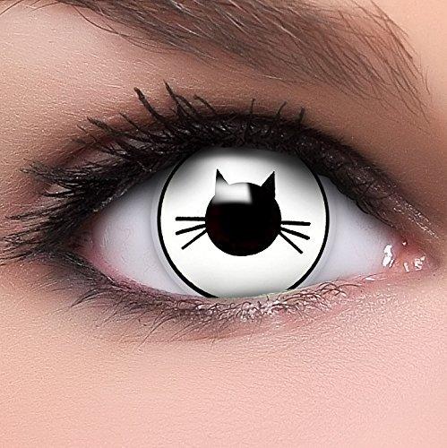 Funzera® Lenti a contatto colorate Puss con portalenti - non corrette, in confezione da due: comode da indossare e ideali per Halloween o Carnevale