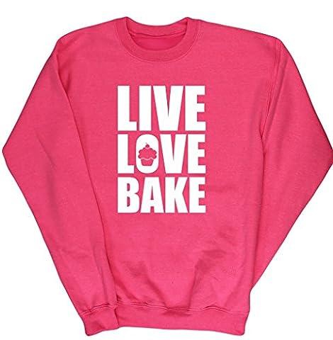 HippoWarehouse Live Love Bake kids unisex jumper sweatshirt pullover