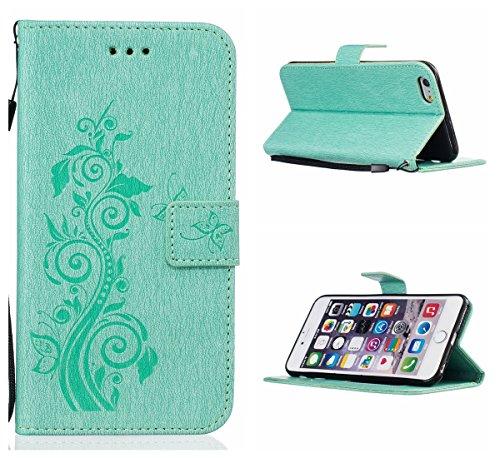 Voguecase Pour Apple iPhone 6/6s 4,7 Coque, Étui en cuir synthétique chic avec fonction support pratique pour Apple iPhone 6/6s 4,7 (Fleur et papillon-Gris)de Gratuit stylet l'écran aléatoire universe Fleur et papillon-Vert