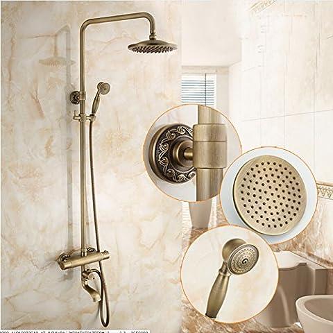 Ouecc Shang brass antique rain shower jacuzzi water tap water valve thermostatic valve mixer w/handheld shower sprayer