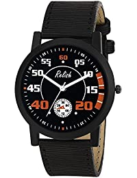 Relish RE-S8128BB Black Slim Analog Watches For Men's And Boy's