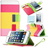 iPod Touch 5th 6th Generation Case, iPod Touch 5/6 Case Genuine ZAFOORAH PU Leather Multi Colour Stripes Wallet Stand with 3 Bonus items Stylus, Screen Protector, Microfiber Cloth (PU Leather - Multi Colour Stripes - Pink)
