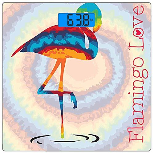6680 Lcd-display (Präzisions-Digital-Personenwaage Flamingo Ultra Slim-Personenwaage aus gehärtetem Glas Genaue Gewichtsmessungen, Einzel-Flamingo Regenbogenfarben Tie Dye-Effekt-Hintergrund Animal World Artwork Print,)