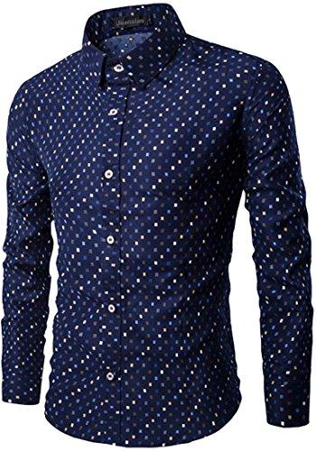Jeansian L'automne et l'hiver Hommes Mode Chemises Casual Manches Longues Impression Men's Leisure Long Sleeves Slim Dress Shirts Tops 84M1 Navy