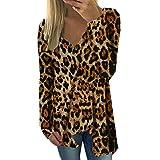 JUTOO Damen Langarm Leopardenmuster V-Ausschnitt Bluse Pullover mit unregelmäßigem Saum Tops Shirt(Braun,XX-Large)