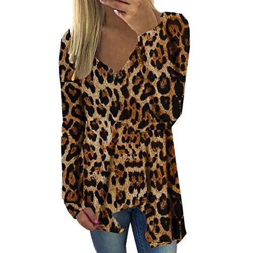 JUTOO Damen Langarm Leopardenmuster V-Ausschnitt Bluse Pullover mit unregelmäßigem Saum Tops ()