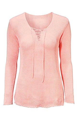 Damen Pullover Top Sexy Frühling Sommer Sweater Rosa Khaki Übergröße 44 - 54 Neu Pink