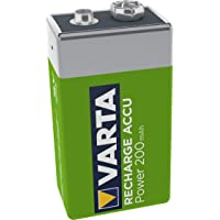 VARTA Rechargeable Accu Ready2Use vorgeladener 9V-Block Akku (9V, 200mAh), wiederaufladbar ohne Memory-Effekt - sofort…
