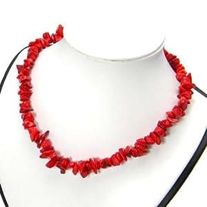 Kette Halskette Koralle Bambuskoralle rot Steinschmuck 51cm