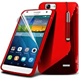 Fone-Case ( Red ) Huawei Ascend G7 Case Brand New Luxury S Line Wave Gel Case Skin Cover With LCD Screen Protector Guard, Polishing Cloth & Mini Retractable Stylus Pen