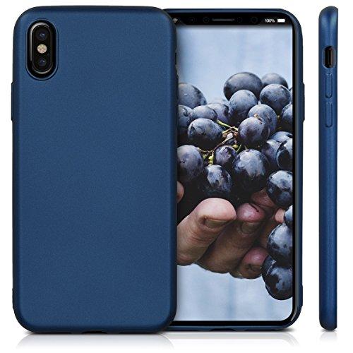 kwmobile Hülle für Apple iPhone X - TPU Silikon Backcover Case Handy Schutzhülle - Cover Schwarz matt .Metallic Blau