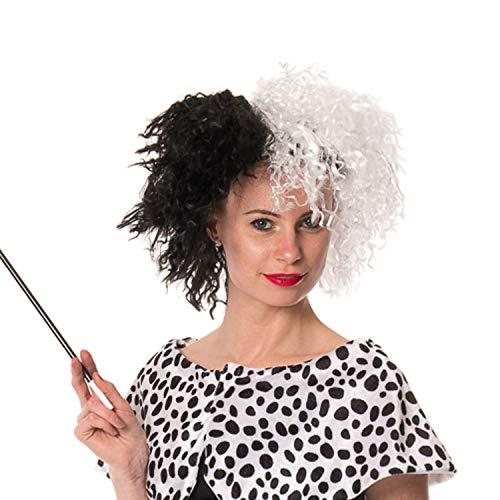 FANCY DRESS HALLOWEEN CURELLA DE VIL DEVILLE 101 DALMATION LADY WIG by SOWEST (Womens Dalmation Kostüm)