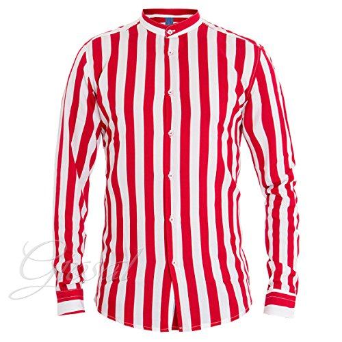 Giosal camicia uomo righe mod righe bicolore rosso bianco collo coreano casual c1324a-m