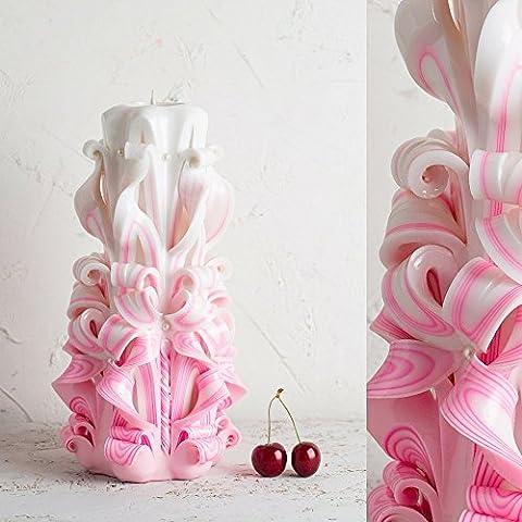 Geschnitzte, rosa Kerzen für Geburtstage - Mama-Geschenke von der Tochter