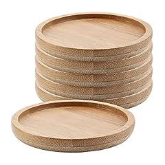 Idea Regalo - T4U 6CM bambù Piccole Dimensioni Rotonde Vassoio di bambù Confezione da 6