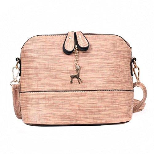TUDUZ Schultertasche Damen Messenger Bags Vintage Kleine Shell Leder Handtasche Casual Paket (Rosa) (Euro Tasche)
