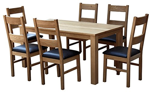 solid oak sleek Table and 6 Ladder back Chairs