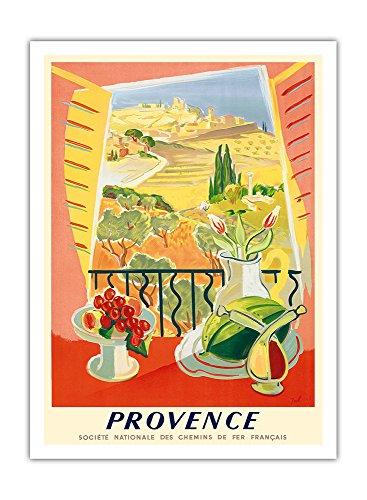 Provence, Frankreich - Nationale Gesellschaft der französischen Bahnen - Vintage Retro Eisenbahn Reise Plakat Poster von Tal c.1945 - Premium 290gsm Giclée Kunstdruck - 30.5cm x 41cm -