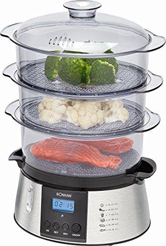 elektrischer Dampfgargerät mit 3 Dampfgarbehälter + Reisschale Dampfgargeräte Dampf Dampfgarer Reis (leistungsstarke 800 Watt + fettarm)