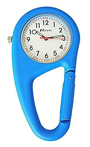 Ravel Gürtel- Clip- Uhr mit Präsentations- Geschenk-Box, Unisex, Quarzuhr mit Silberfarbenem Zifferblatt, Analog-Anzeige, und Edelstahl, mit Blau, vergoldetes Armbander Beschichtung, rR1105.06