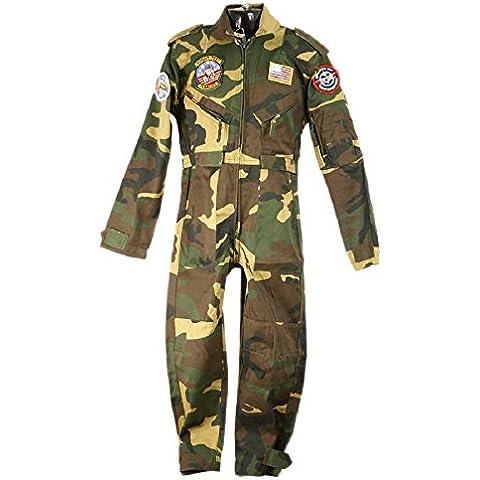 Muchachos de los niños del vuelo Traje de camuflaje verde militar / Ejército soldado vestido de lujo Traje 11-12 años de
