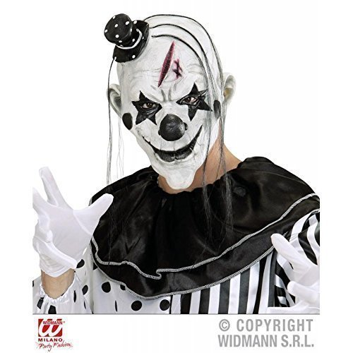 nmaske / Latexmaske / Maske mit Haar & Minihut (Harlekin-maske)