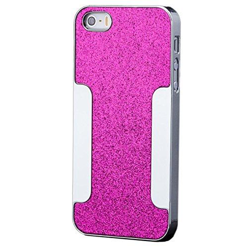 iCues Apple iPhone SE / 5S / 5    Glitzer Case Rot   [Display Schutzfolie Inklusive] Strass Glitzer Glitter Luxus Bling Damen Frauen Mädchen Chrome Schutzhülle Hülle Cover Schutz Pink