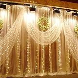Weihnachtsdeko Fenster LED Vorhang Eiszapfen Lichterkette 300 LEDer innen außen Beleuchtung Dekoration, Warm Weiß