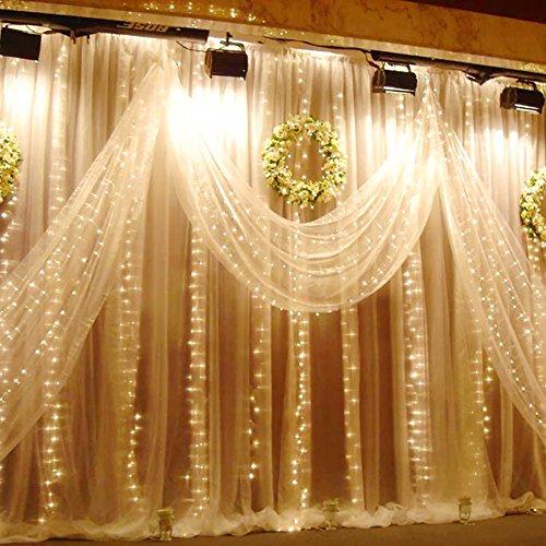 Fenster LED Vorhang Eiszapfen Lichterkette 300 LEDer 3x3m innen außen Beleuchtung Dekoration für Valentinstag Überraschung Geburtstag Hochzeit, Warm Weiß