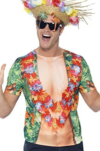 Smiffys 45541L - Herren Hawaii T-Shirt, Größe: L, mehrfarbig (Halloween Hawaii-shirt)
