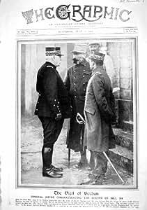 1916 Dirigeants du Général Joffre Humbert Bazelaire Verdun de Guerre de Photographie