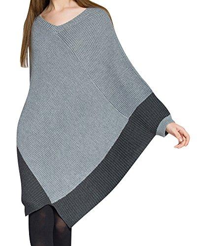 Femmes Détendu Classique Collier V Manteau Supérieur Manches Longues Tricots Chic Longue Pull Gris
