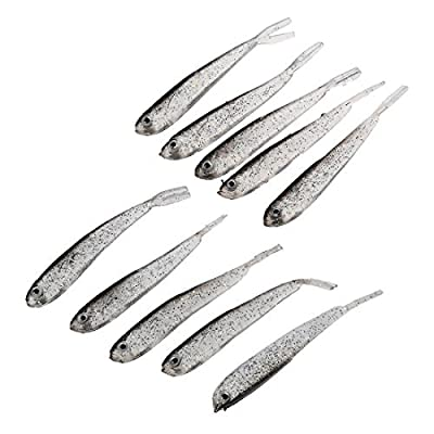 Fishing lure - TOOGOO (R) 10 pcs fishing lure artificial fish bait soft silicone creme low darkness by TOOGOO(R)
