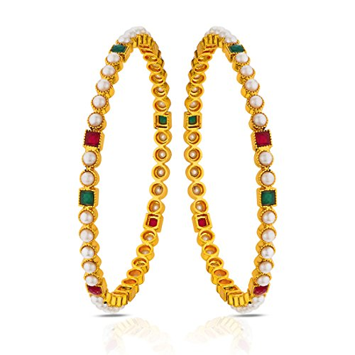 Peora Traditional Jewellery Gold Plated Pearl Multicolor Bangle For Women And Girls (Set Of 2)