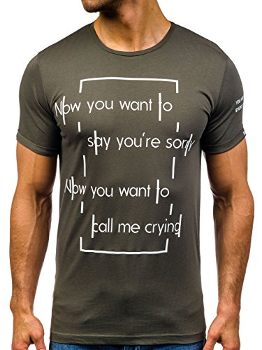 BOLF Herren T-Shirt Tee Kurzarm Rundhals Schadel Slim Aufdruck MIX 3C3 Motiv Grün_015