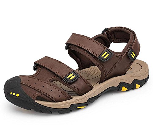 SHIXR Männer Flip Flop Sommer Casual Große Größe Strand Schuhe Dämpfung Wear Leder Herren Hausschuhe Outdoor Sandalen Dark Brown