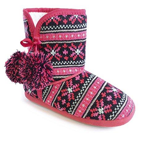 Mädchen Rosa Nordic Muster Jacquard Knit Fleece gefüttert Bootie-Hausschuhe mit Pom Pom Rand Pink